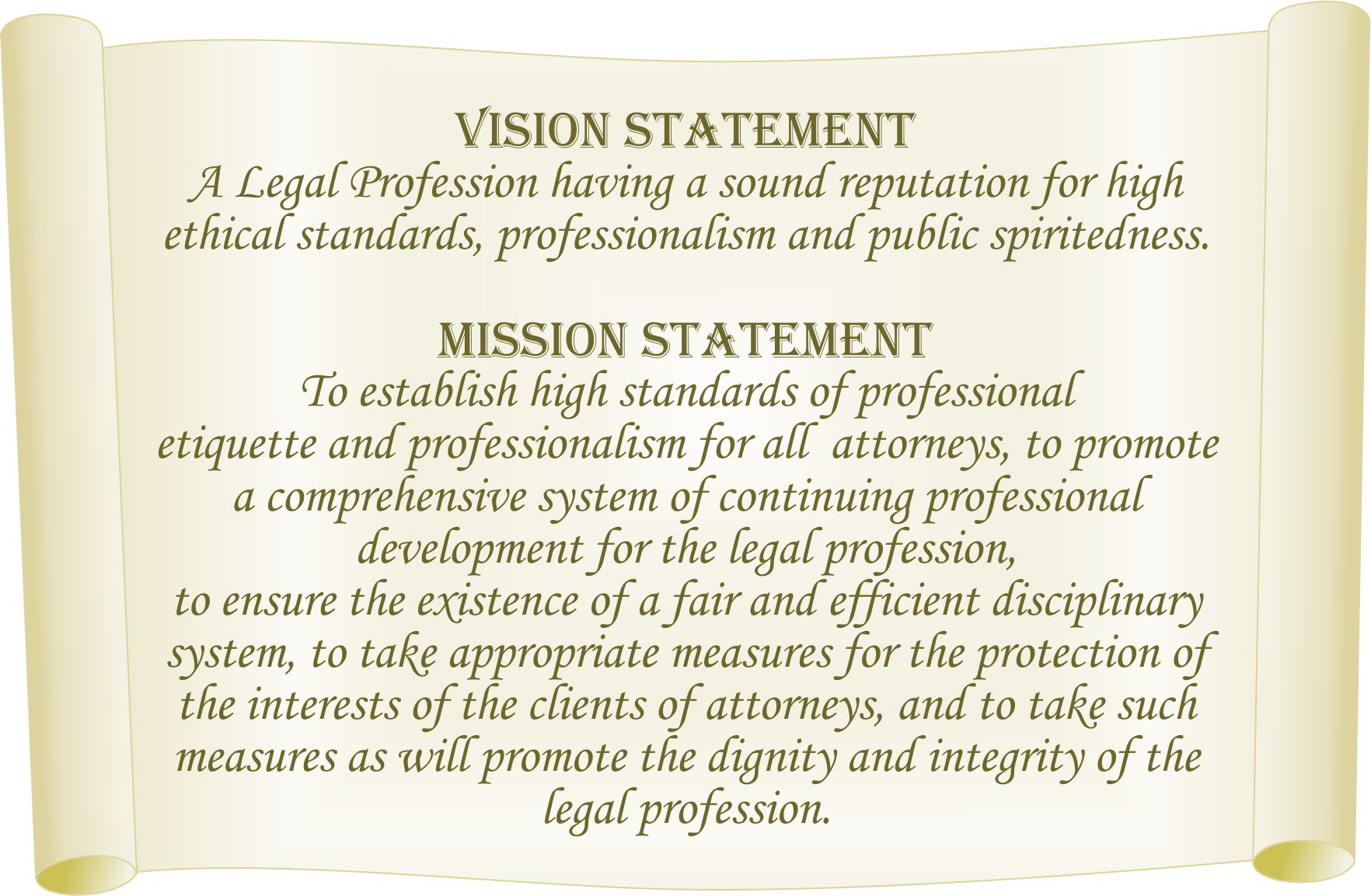 vision statement general legal council